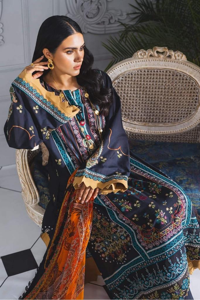MARYUM N MARIA   FORMAL DRESS   Black & Orange (ML-201)