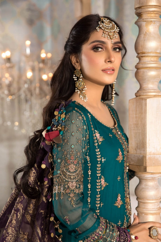 MARIA B   MBROIDERED HERITAGE Collection   Teal blue, Olive Green and Purple (BD-2202)