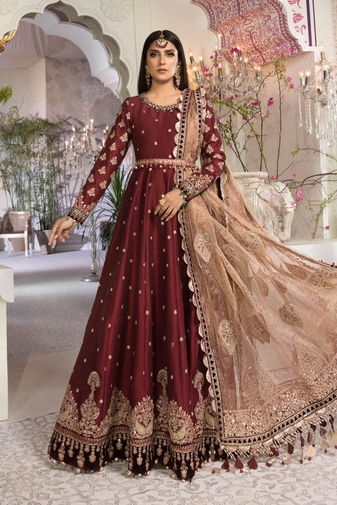MARIA B | MBROIDERED HERITAGE Collection | Maroon and Salmon pink (BD-2204)