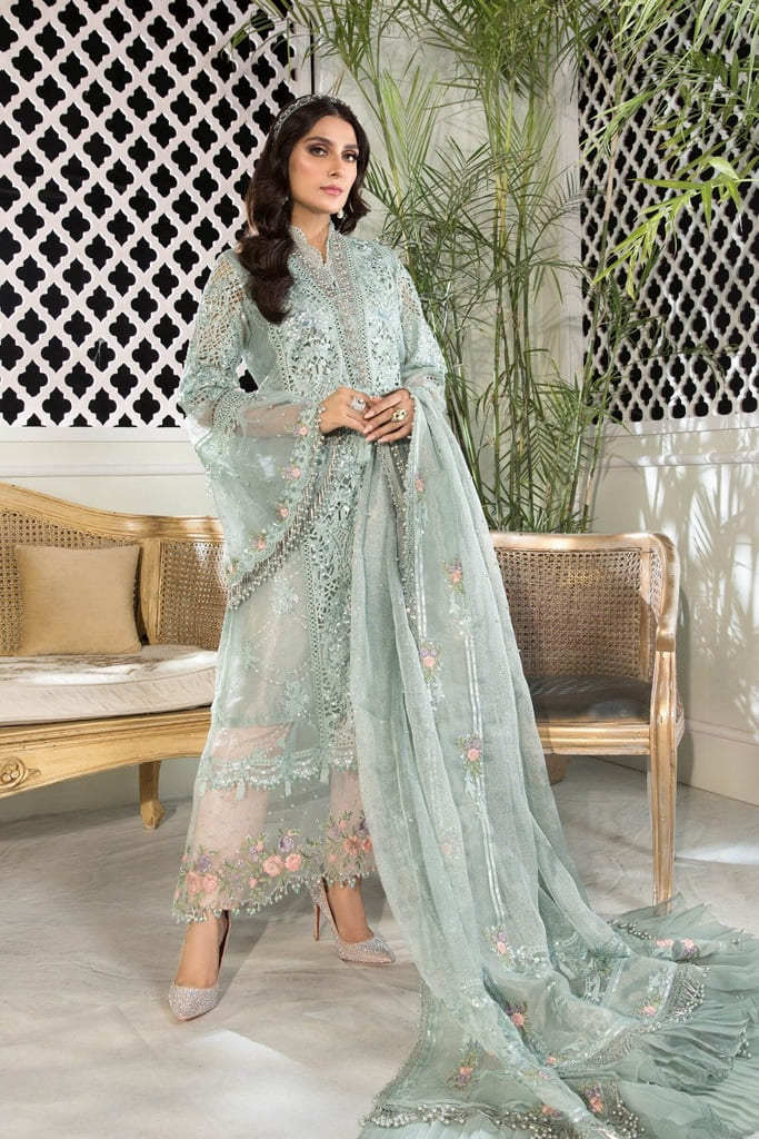 MARIA B | MBROIDERED HERITAGE Collection | Sky blue and Peach (BD-2206)