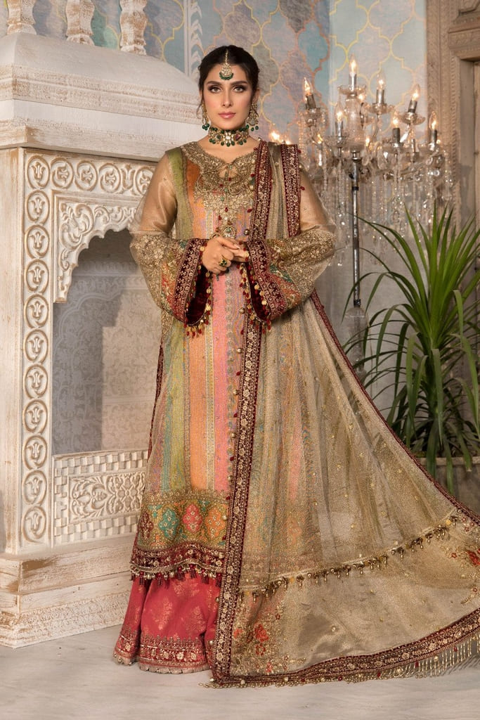 MARIA B | MBROIDERED HERITAGE Collection | Bronze, Maroon and Carrot pink (BD-2207)