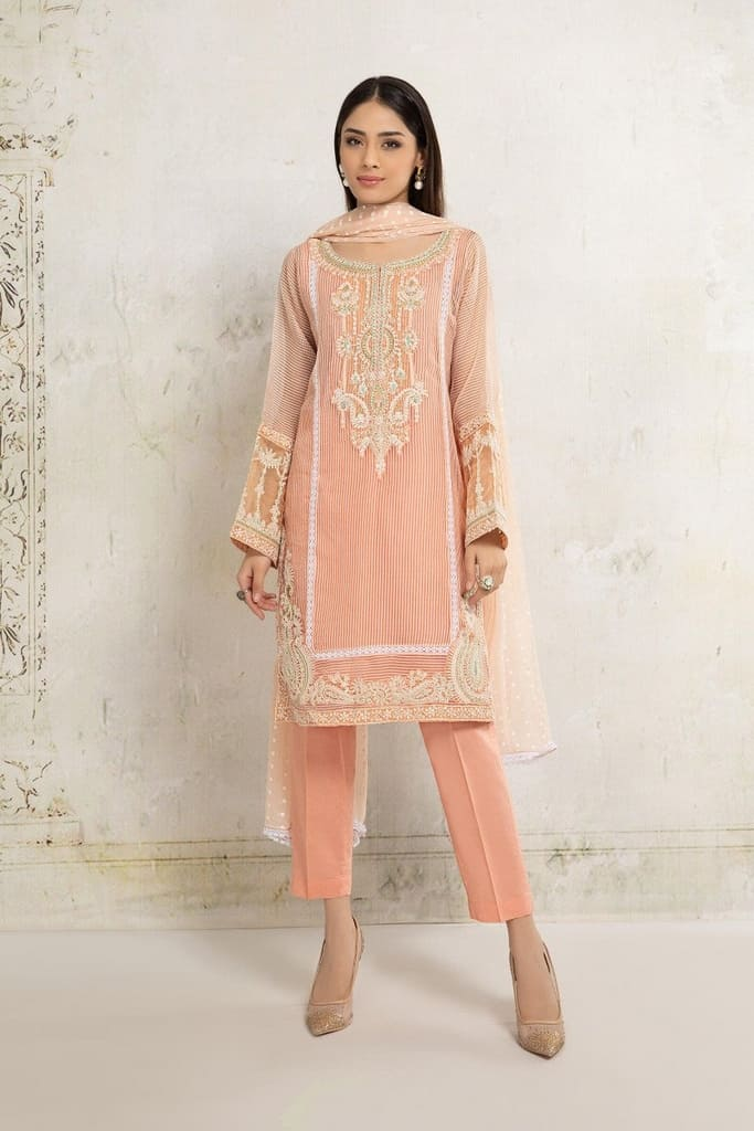MARIA B   READY TO WEAR CASUAL Collection   Suit Peach DW-EA20-20