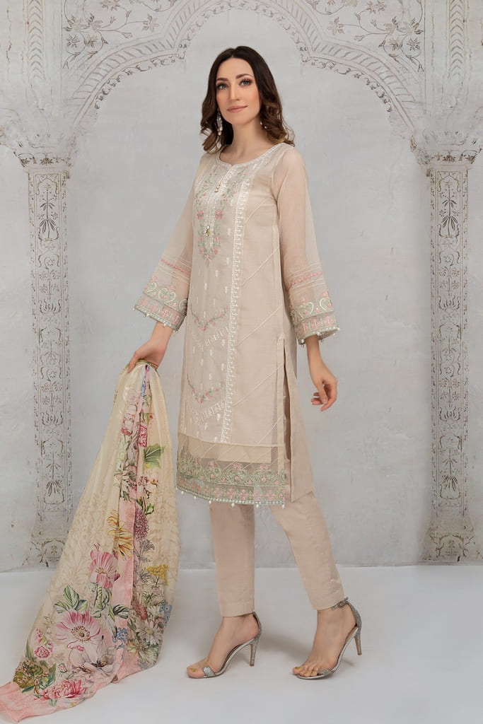 MARIA B | READY TO WEAR CASUAL Collection | Suit Off White DW-EA21-04
