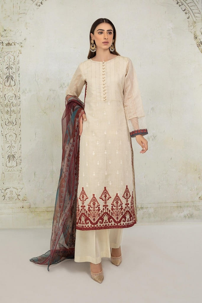 MARIA B | READY TO WEAR CASUAL Collection | Suit Beige DW-EA21-09