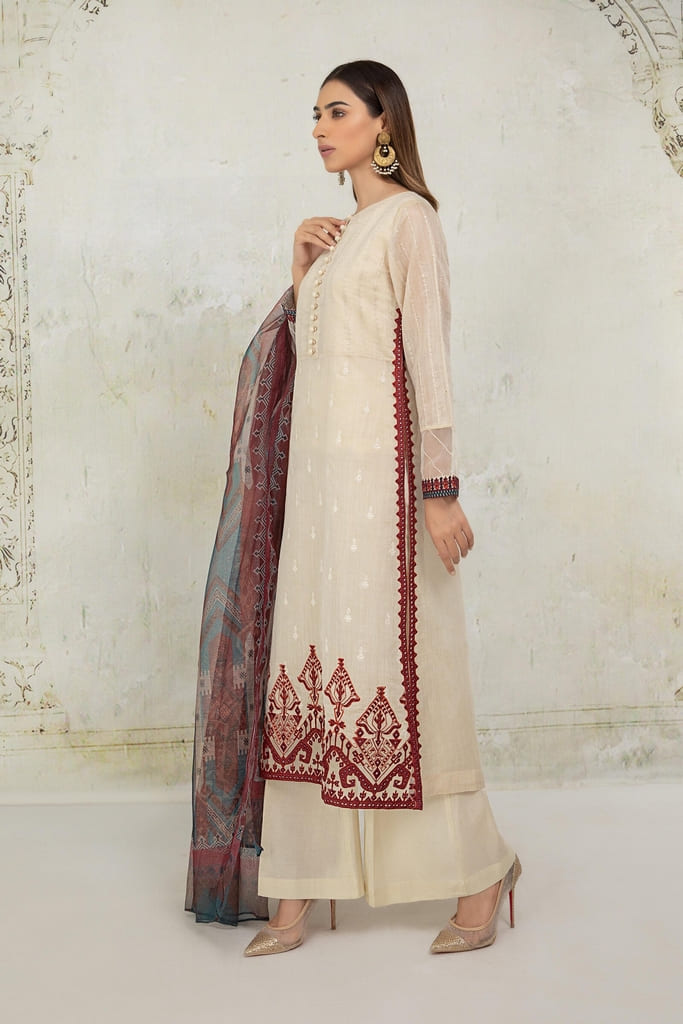 MARIA B   READY TO WEAR CASUAL Collection   Suit Beige DW-EA21-09