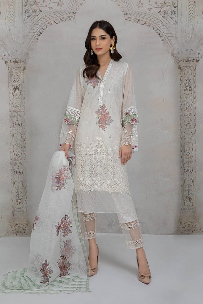 MARIA B | READY TO WEAR CASUAL Collection | Suit White DW-EA21-14