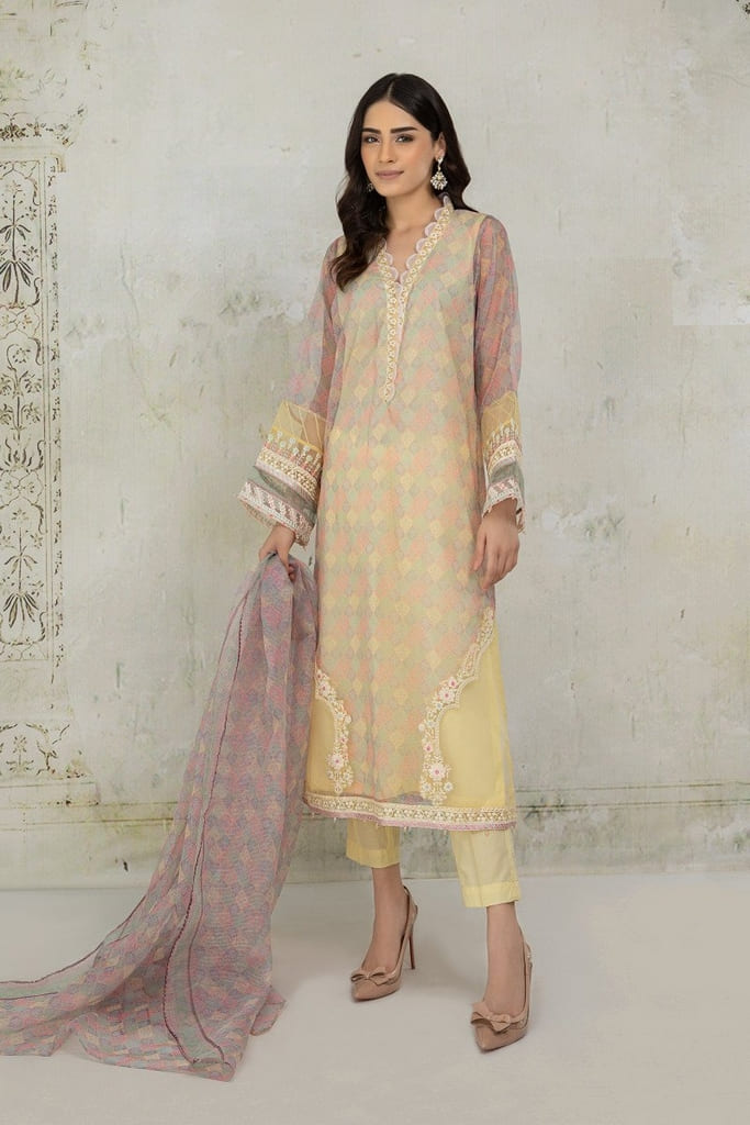 MARIA B | READY TO WEAR CASUAL Collection | Suit Yellow DW-EA21-17