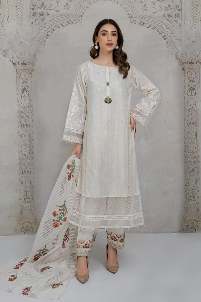 MARIA B   READY TO WEAR CASUAL Collection   Suit Off White DW-EA21-18