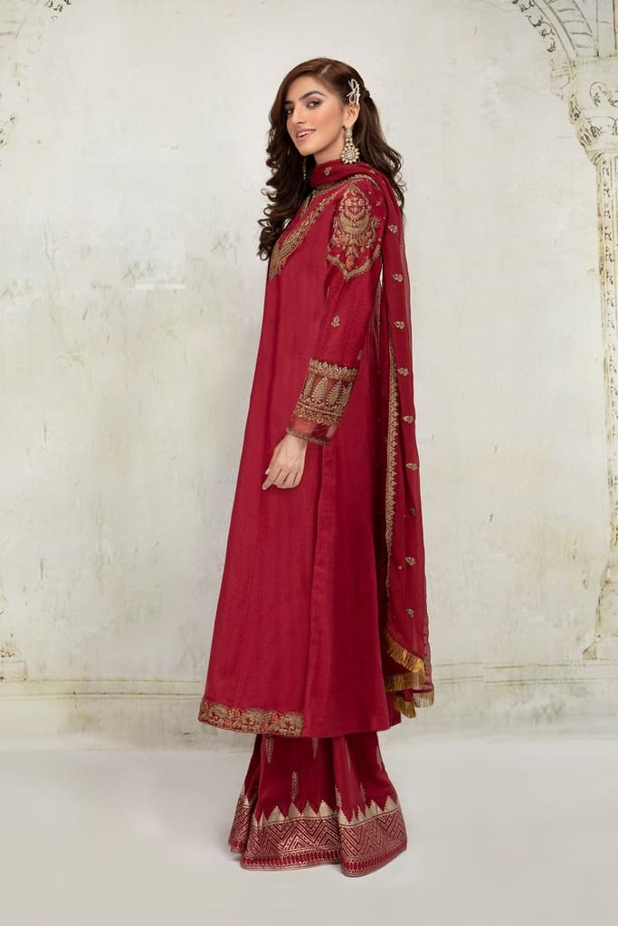 MARIA B | READY TO WEAR CASUAL Collection | Suit Red DW-EA21-53