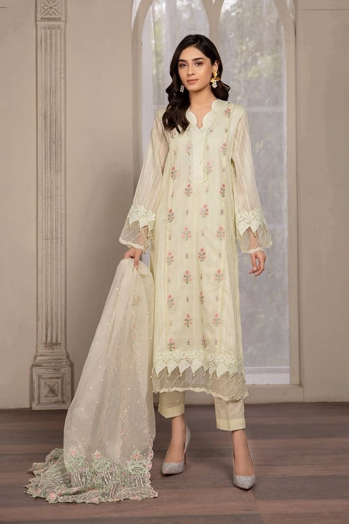 MARIA B   READY TO WEAR CASUAL Collection   Suit Yellow DW-EF21-20