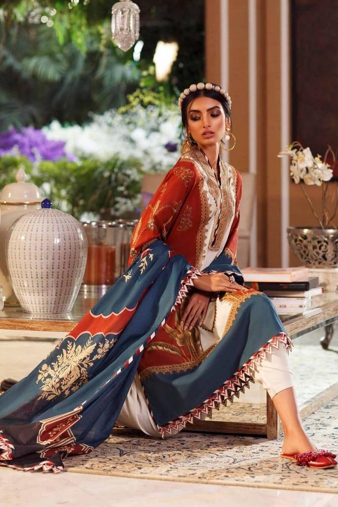 SANA SAFINAZ   MAHAY LAWN Collection'20   12B-Bg