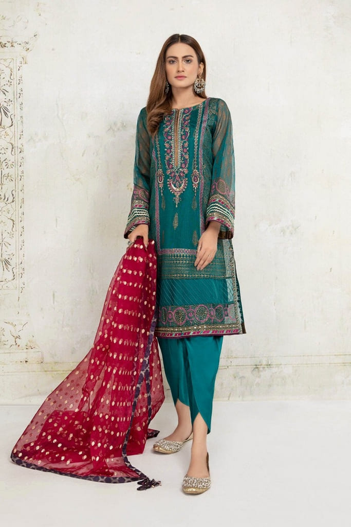 MARIA B | EVENING WEAR Collection | Suit Sea Green SF-EA21-09