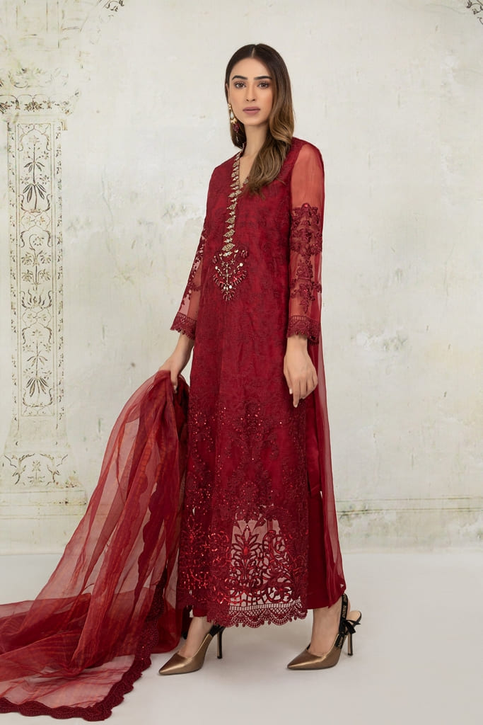MARIA B | EVENING WEAR Collection | Suit Maroon SF-EA21-20