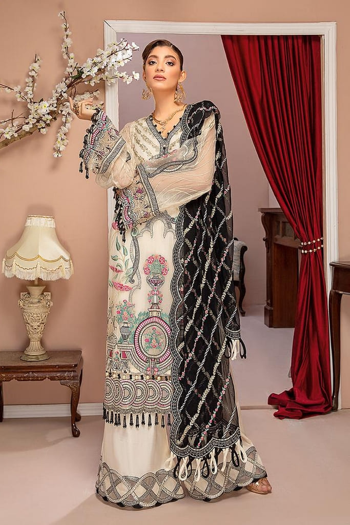 ADAN'S LIBAS   LUXULIA EMBROIDERED CHIFFON Collection   D#9 Floral White