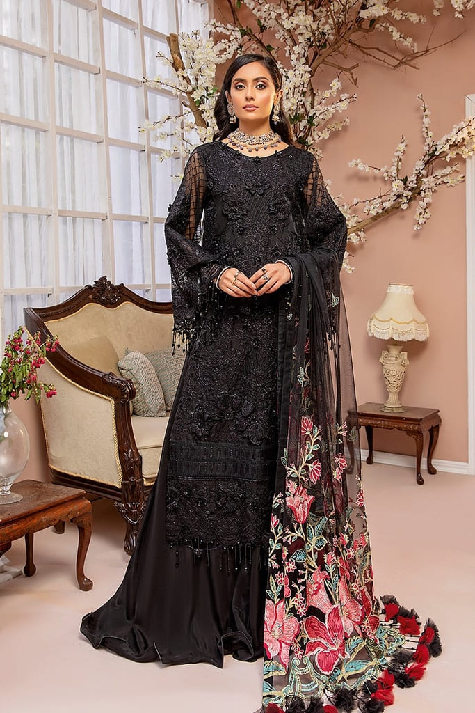 ADAN'S LIBAS   LUXULIA EMBROIDERED CHIFFON Collection   D#6 Midnight Sky