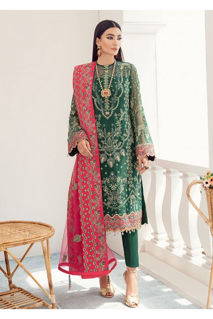 GULAAL | PREMIUM EMBROIDERED CHIFFON Collection'21 | Suit D-1